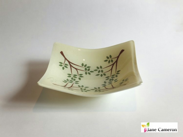 Rocking Trees Canape bowl dish 20cm - Cream Green Brown - Fused Glass - BGD-007