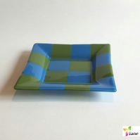 Canape bowl trinket dish 20cm - Green Blue - Fused Glass