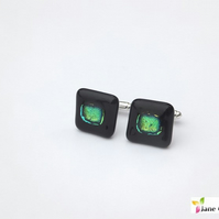 Dragon Eye Cufflinks - Fused Glass - Black Green Dichroic Square 2cm