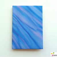 A6 hardback notebook journal lined - hand painted silk - blue lavender 405