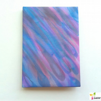 A6 hardback notebook journal lined - hand painted silk - blue pink purple 406