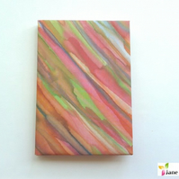 A6 hardback notebook journal lined - hand painted silk - rainbow nature 408
