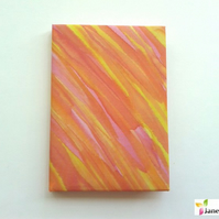 A6 hardback notebook journal lined - hand painted silk - flame orange yellow 409