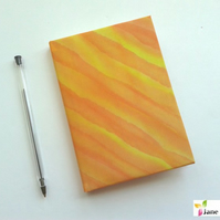 A6 hardback notebook journal lined - hand painted silk - flame orange yellow 402