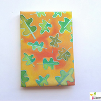 A6 hardback notebook journal lined - hand painted silk - autumn leaf brights 412