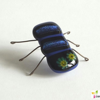 Kiln Bugz! Fantasy Beetle Insect Ornament Decoration in Fused Glass. bugz003