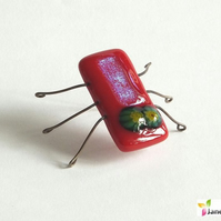 Kiln Bugz! Fantasy Beetle Insect Ornament Decoration in Fused Glass. bugz008
