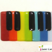 "Piano ""tea and biscuit"" Coaster, Rainbow fused glass (music teacher gift)"