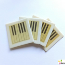 Set of 4 Piano Coasters, Cream Ivory fused glass, music