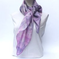 Summer Fruit Shibori Hand Dyed Square Scarf, Pure Silk Medium Weight Wrap 90x90