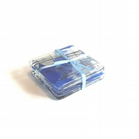 Set of 4 Blue Confetti Clear glass Coasters
