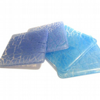 "Set of 4 Blue ""Crackle"" fused glass Coasters"