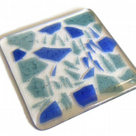 Fused Glass Coaster Blue Green Confetti 10cm