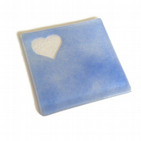 Fused Glass Coaster Pale Blue Love Heart Silhouette 10cm