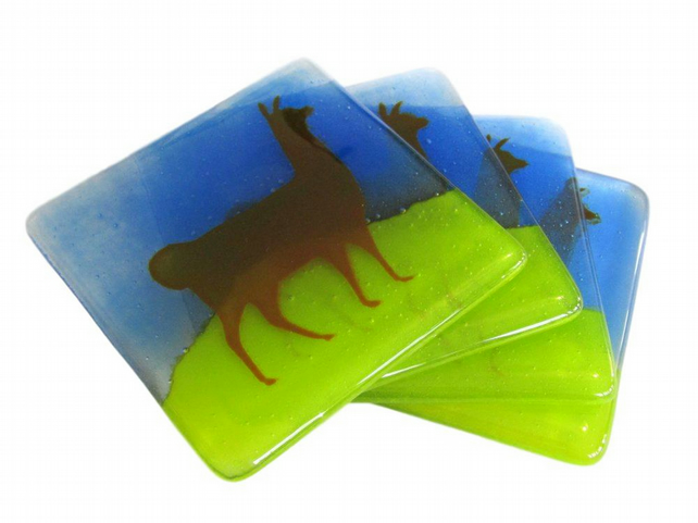 Set of 4 Llama Fused Glass Coasters - green blue brown