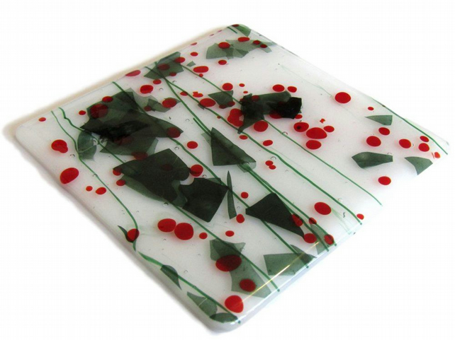 Fused glass Christmas Holly Berry Confetti Large Coaster Red Green Festive