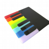 Piano Teapot Stand - Rainbow Fused Glass Dish - music teacher