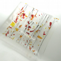 Fruit Bowl - Fused Glass Autumn Red Orange Yellow, Confetti Dish