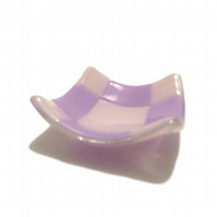 Fused Glass Trinket Dish - Pastel Pink Light Pink Lavender Purple
