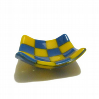 Fused Glass Trinket Dish - Blue Turquoise Yellow Checked Check