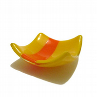 Fused Glass Trinket Dish - Yellow Orange Stripe Striped Sunflower