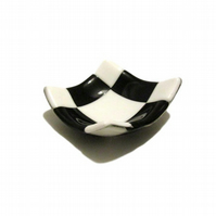 Fused Glass Trinket Dish - Black White Geometric