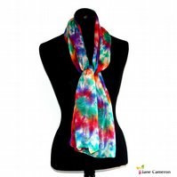 Retro Party - Hand Dyed Pure Silk Long Scarf - Rainbow Swirl