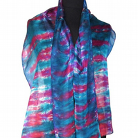Ocean Sunset - Hand Dyed Pure Silk Long Scarf