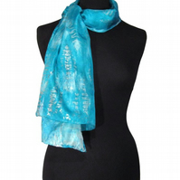 Silver Ocean Ripple - Hand Dyed Pure Silk Long Scarf