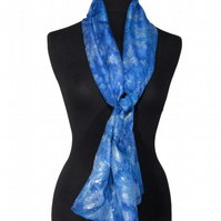 Waterfall Sparkle - Hand Dyed Pure Silk Long Scarf