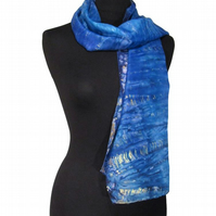 Water Reflections - Hand Dyed Pure Silk Long Scarf