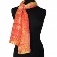 Gold Sunset Forest - Hand Dyed Pure Silk Long Scarf