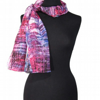 Distressed Sunset - Hand Dyed Pure Silk Long Scarf