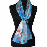 Sky Petals - Hand Dyed Pure Silk Long Scarf