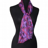 Petunia Flower Kaleidoscope - Hand Dyed Pure Silk Long Scarf