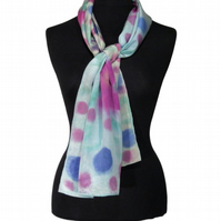 Cornflower Polkadot Meadow - Hand Dyed Pure Silk Long Scarf