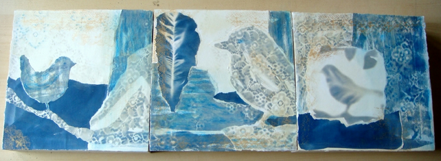 Blue Bird Triptych