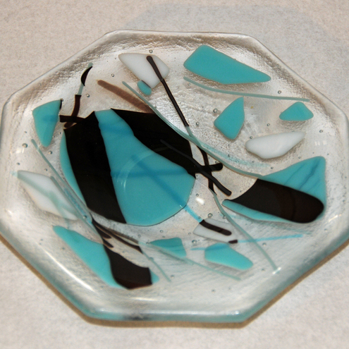 Octagonal Bowl - Abstract Design in Turquoise & Brown