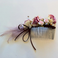 English garden feather fascinator hair comb
