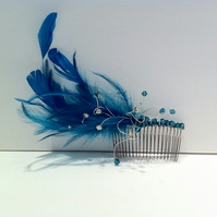 Feather and Swarovski crystal fascinator hair comb - teal