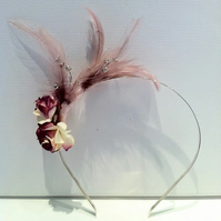 Tiffany flower and feather hair band