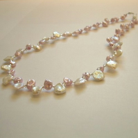 Freshwater pearl 'petal' necklace - powder pink