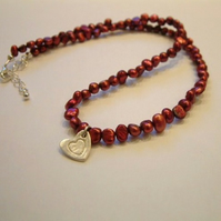 Reserved for k3purple - Raspberry  and ivory coloured freshwater pearl necklace with handmade Sterling Silver heart charm