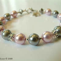 Pink and grey Swarovski crystal and glass pearl bracelet