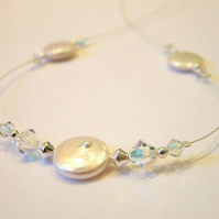 Alaska freshwater pearl and Swarovski crystal necklace
