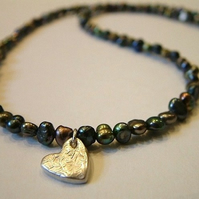 Peacock coloured freshwater pearl necklace with handmade Sterling Silver heart charm