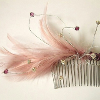 Tiffany feather and Swarovski crystal fascinator hair comb - various colours
