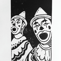 'Carnival Clowns' Lino Print by Debbie Todd