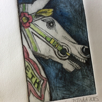 'Colourful Carousel Horse' original Hand Pulled Print by Debbie Todd