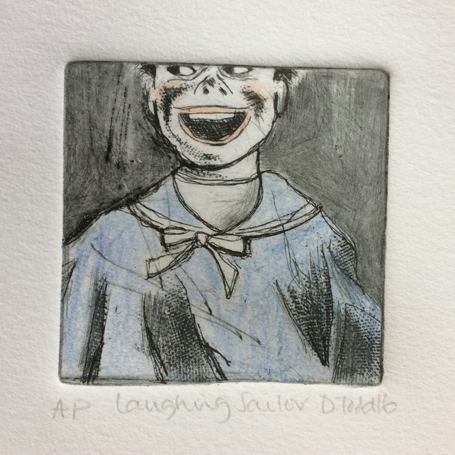 'Laughing Sailor' original Hand Pulled Print by Debbie Todd